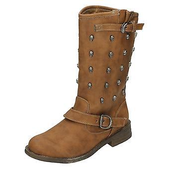 Ladies Spot On Low Heel Calf Boot F50037