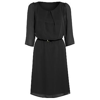 Womens belted flowy chiffon dress DR880-Black-14