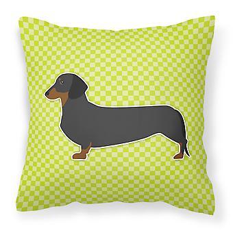 Dachshund sjakkbrett grønne stoff Dekorative Pillow