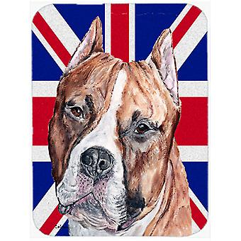 Staffordshirenbullterrieri Staffie Englanti Union Jack Britannian lipun lasi Cu