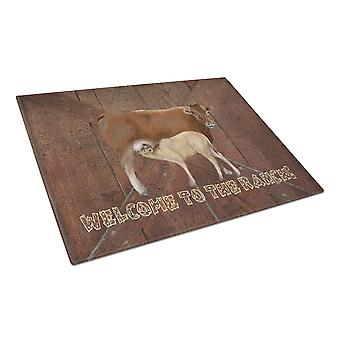 Welcome to the Ranch with the Cow and Baby Glass Cutting Board Large Size