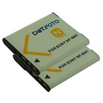 2 x Dot.Foto Sony NP-BN, NP-BN1 udskiftningsbatteri - 3.7V / 630mAh