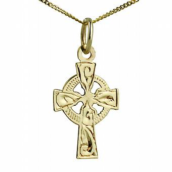 9ct Gold 16x11mm hand engraved Celtic Cross with a curb Chain 20 inches