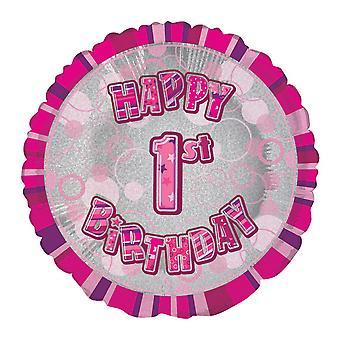 Unik Party 18 tum cirkel rosa födelsedagen folie ballong