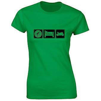 Manger dormir vélos motos Womens T-Shirt 8 couleurs (8-20) par swagwear