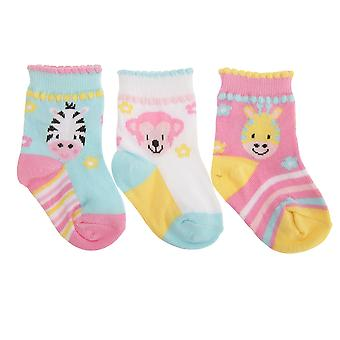 Baby Girls Cotton Rich Assorted Animals Design Socks (Pack Of 3)