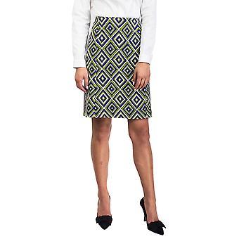 Prada Women's Virgin Wool Geometric Print Skirt Green