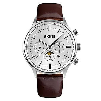 SKMEI Beautiful Quartz Mens Watch Multi Dial Sun Moon Dial Brown Leather Strap 9117S