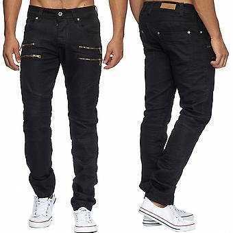 Men's Jeans Glossy CLARENCE Coated Denim Black Fabric Trousers Pants