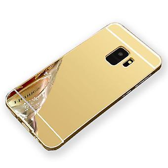 Spegel / spegel aluminium stötfångare 2 stycken med cover guld för Samsung Galaxy S9 plus G965F väska täcker