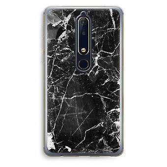 Nokia 6 (2018) gennemsigtig sag (Soft) - sort marmor 2