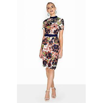 Bloom Print Crochet Bodycon Dress