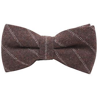 Knightsbridge kaulavaatteita Diagonal raidallinen solmio - ruskea/valkoinen