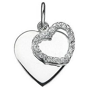 Começos Cubic Zirconia coração duplo pingente - Silver/Clear