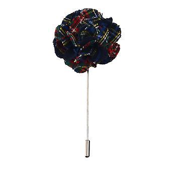 Marineblå Tartan håndlaget jakkeslaget Pin, knapphull, blomsterpynten, Boutonniere