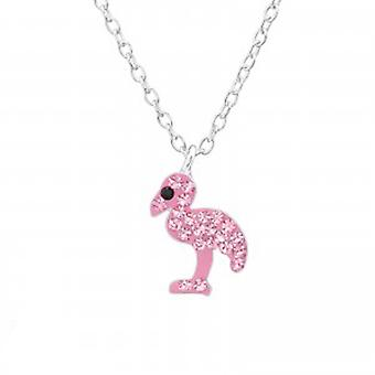 Collana di cristallo fenicottero di ragazze argento rosa Swarovski