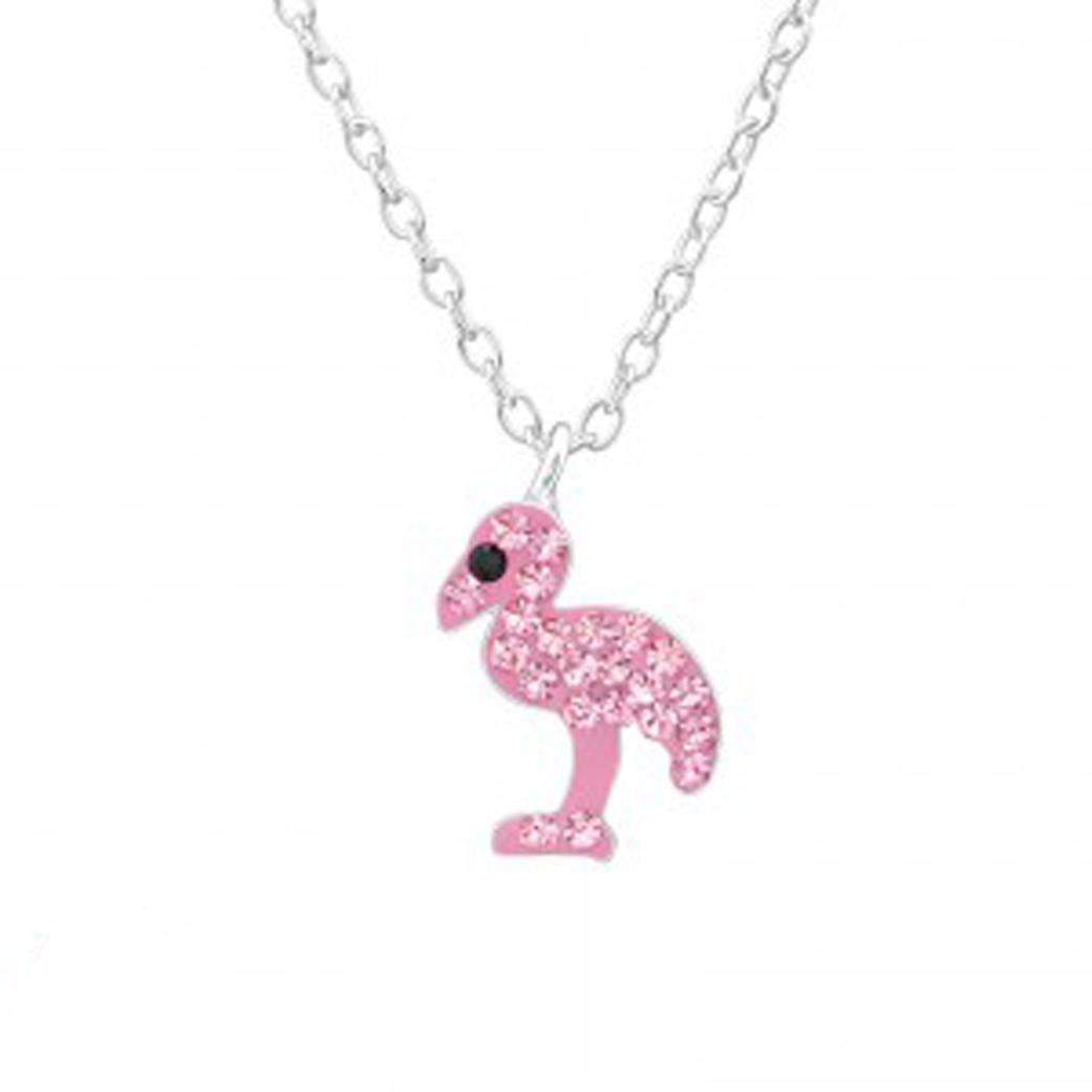 Girls sterling silver pink Swarovski crystal flamingo necklace