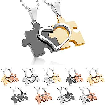Stainless Steel, Couple Pendant Bicolour Heart Puzzle Piece With A Ball Chain