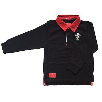 Wales WRU Rugby Kids Long Sleeved Rugby Shirt | Black