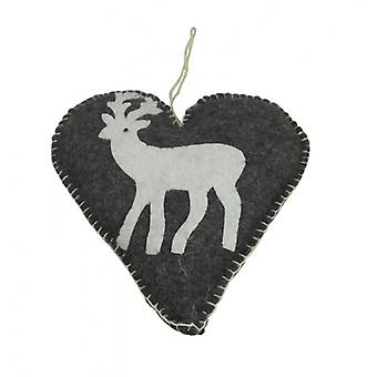 Shoeless Joe Felt Reindeer Heart Christmas Decoration
