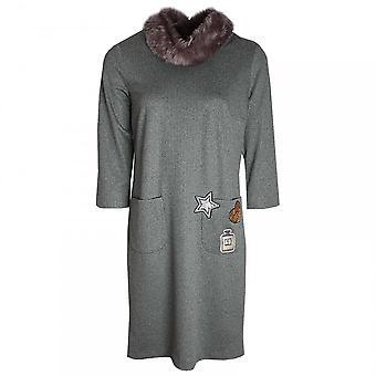 Marie Mero Long Sleeve Dress With Faux Fur Collar