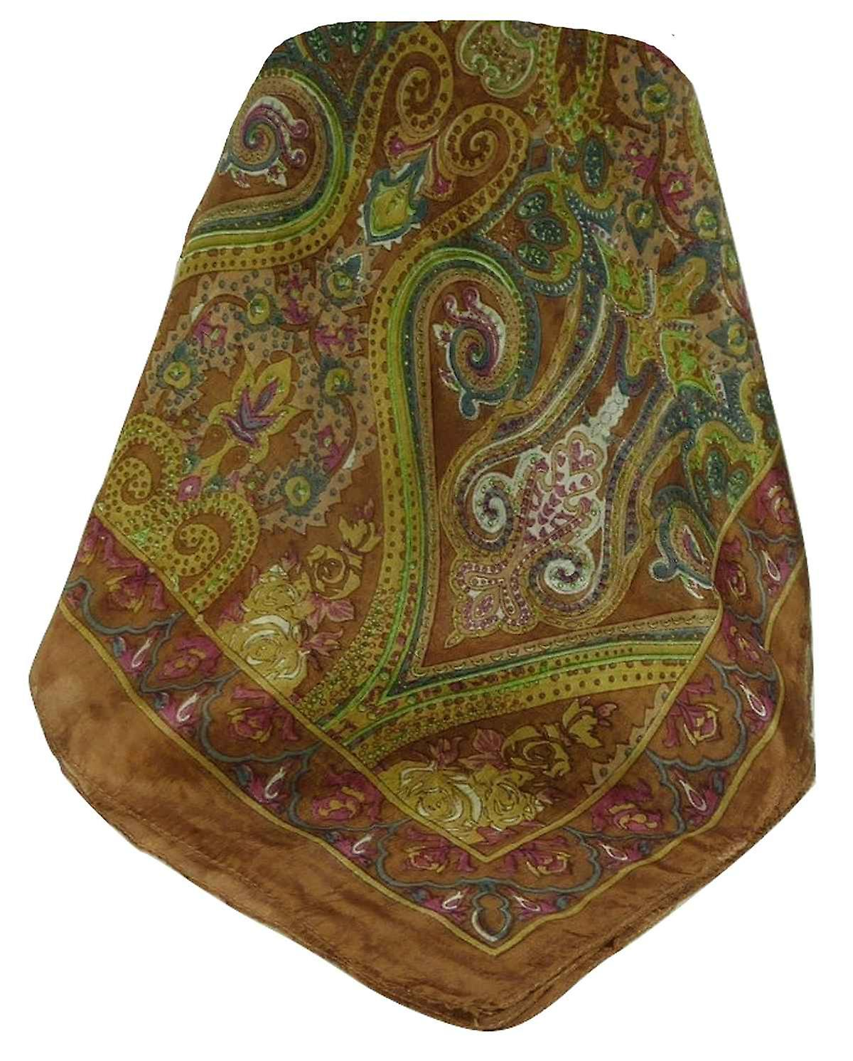 Mulberry Silk Traditional Long Scarf Worli Copper by Pashmina & Silk