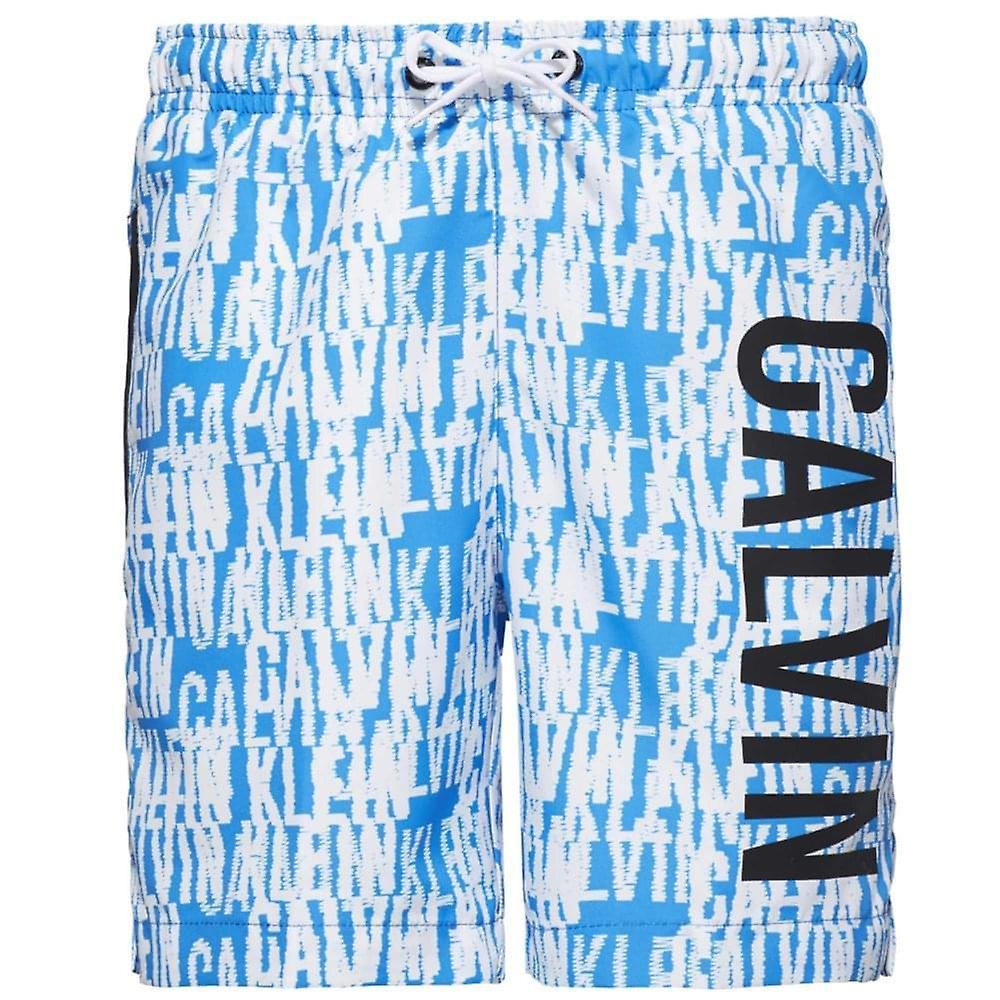Calvin Klein Boys Intense Power Swim Shorts, Blue & White Logo, X-Large