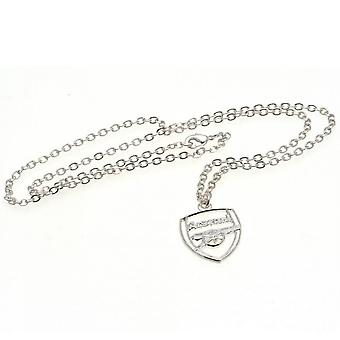 Arsenal FC Crest Silver Plated Pendant And Chain