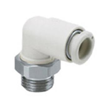 SMC Pneumatic Elbow Threaded-To-Tube Adapter, R 1/4 Male, Push In 4 Mm