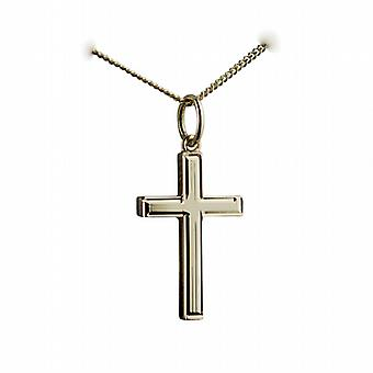 18ct Gold 20x13mm engine turned lined border solid block Cross with a curb Chain 20 inches