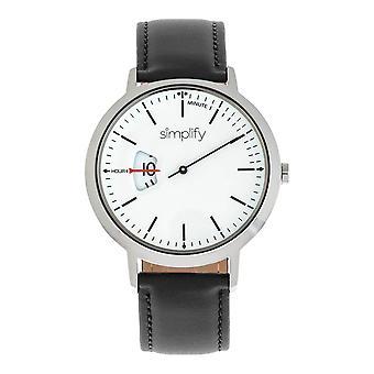 Yksinkertaistaa 6500 nahka bändi Watch - musta/valkoinen