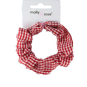 Molly & Rose Gingham Hair Scrunchie Red