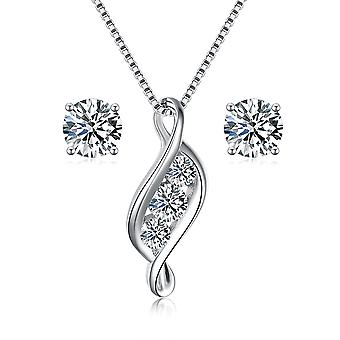 925 Sterling Silver Solid Flame Design Aaaaa Cubic Zirconia Jewellery Set
