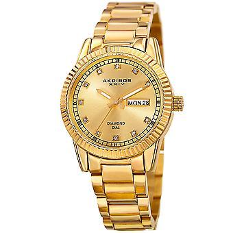 Akribos XXIV AK965YG Gold Round Case Diamond Dial Date Bracelet Watch