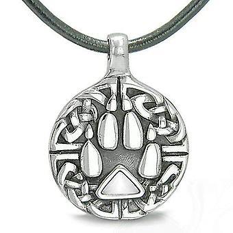Amulett keltiske skjold knute Wolf pote beskyttelse sjarm trekant energi hvite katter øye halskjede
