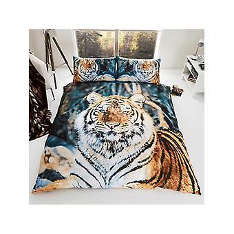 Tiger King Size capa de edredão e fronhas Set