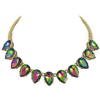 Wieczne kolekcji uwodzenia Teardrop zielony Soutache ton złota moda naszyjnik