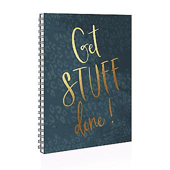 """A5 """"Get Stuff Done"""" Green Twin Wire Soft Cover Study Notebook With Dividers"""