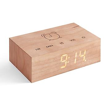 Gingko Flip Click Clock LED Alarm Clock Sound Activated With New Flip Technology, Rechargeable With Laser Engraved Touch Controls, Various Wood Finishes