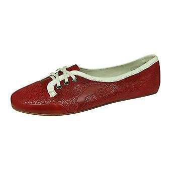 Puma Rudolf Dassler Damenwahl Womens Leather Ballet Pumps / Flats - Red