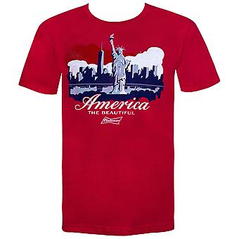 Budweiser Beer Statue of Liberty NYC America Men's Red T-Shirt