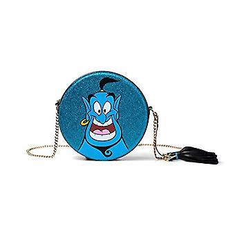 Bioworld Disney Aladdin Glitter Genie Round Shaped Shoulder Bag With Shoulder Shoulder Strap Backpack 21 centimeters Blue (Blue)