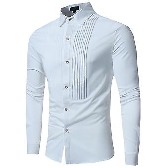 Allthemen Men's Solid Fold Lapel Slim Fit Business Casual Long Sleeves Shirt