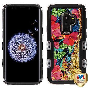 MYBAT Natural Black/Electric Hibiscus & guld gnistrar TUFF Quicksand glitter hybrid Case för Galaxy S9 plus