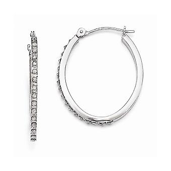 14k White Gold Polished Diamond Fascination Oval Hinged Hoop Earrings Jewelry Gifts for Women