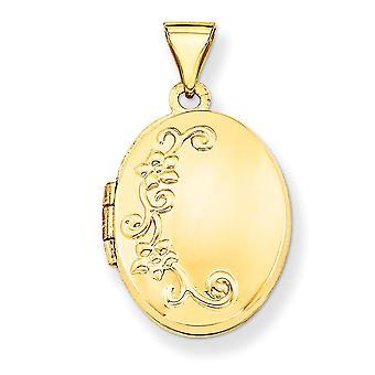 14k Gul Guld Poleret Gravbar Holder 2 billeder Floral Locket Smykker Gaver til kvinder - 1,2 gram