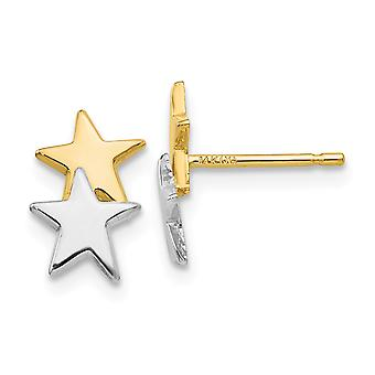 14k Or Jaune Avec Rhodium Polished Star Post Boucles d'oreilles Bijoux Bijoux pour les femmes