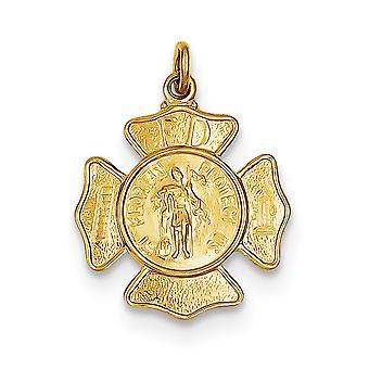 24k 14Κ Χρυσό επιμεταλλωμένα στερεό σατέν πίσω γυαλισμένο και σατέν χαραγμένο (πίσω μόνο) Ασημένιο Saint Florian πυροσβέστες Badge Penda