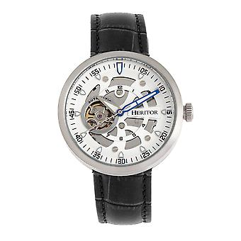 Heritor Automatic Jasper Skeleton Leather-Band Watch - Silver/White