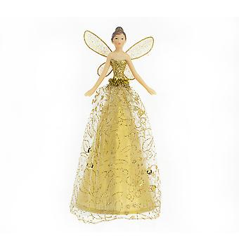 18.5cm Gisela Graham Gold Christmas Fairy Tree Topper